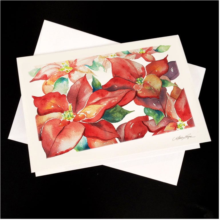 Image of Poinsettias 5-Pack Greeting Card Set