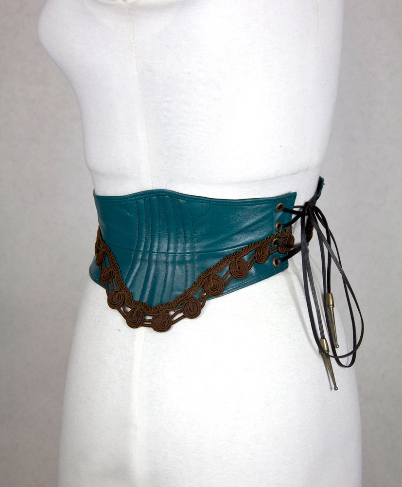 Image of Teal Leather w/ Cocoa Trim I Reversible Corset Belt