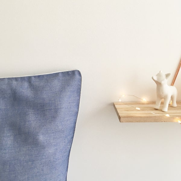 Image of Linge de lit chambray légèrement pailleté argent - Passepoil argenté -40%, 59.40€ au lieu de