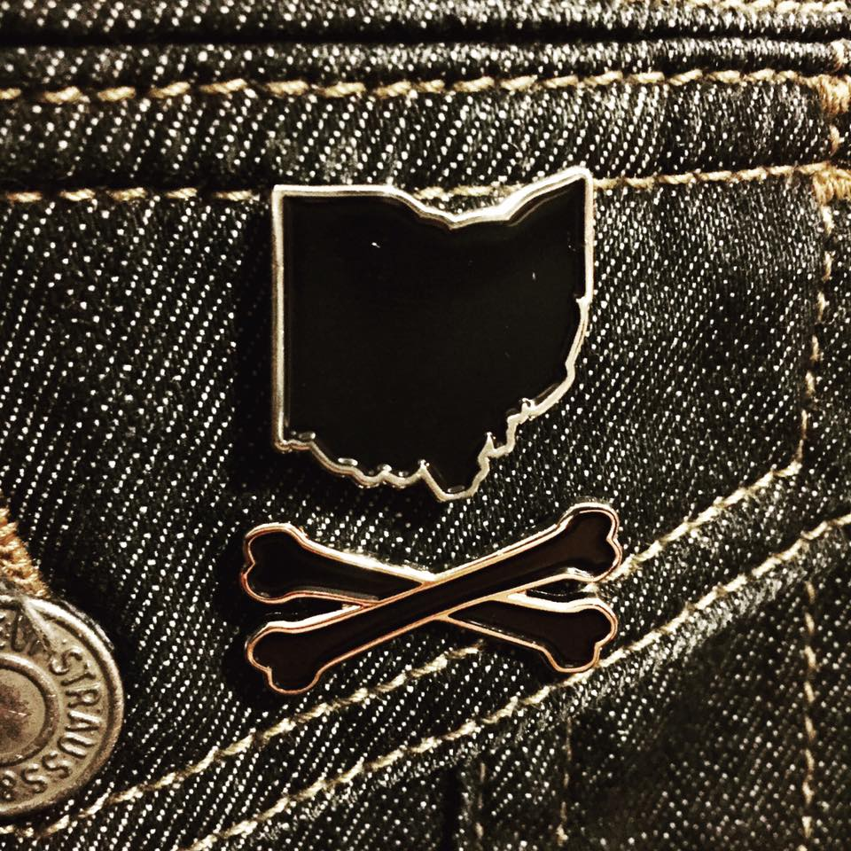 Image of Ohio and Crossbones™ Enamel Pin Black and Silver