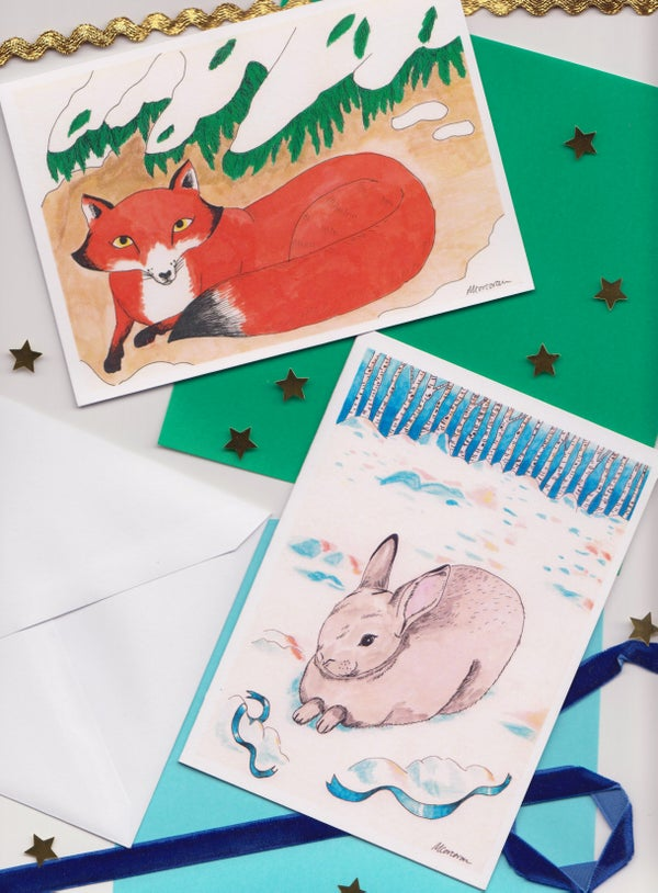 Image of Fox & rabbit Christmas cards (Pack of 8)