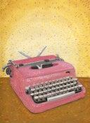 Image of Pink Scripto Typewriter (Original 9x12 gouache)