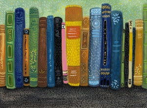 Image of Bookshelf (Original 9x12 gouache)