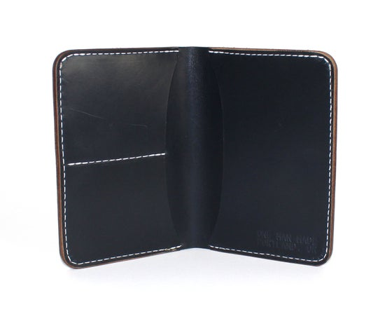 Image of PASSPORT WALLET #1 - NAVY W/ WHITE THREAD
