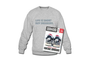 Image of Crewneck Sweatshirt: Life is Short Buy Sneakers (Grey - Silver)