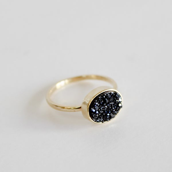 Image of Black Druzy Quartz Ring