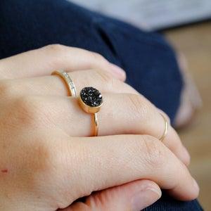 Image of Black Druzy Quartz Ring