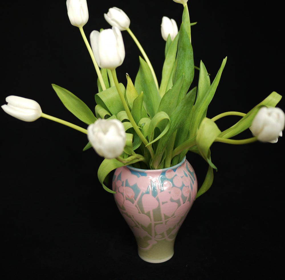Image of Mother-Of-Pearl 'Pink Vines' Vase