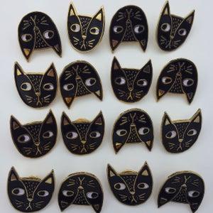 Image of Judgemental Cat Pin-Black