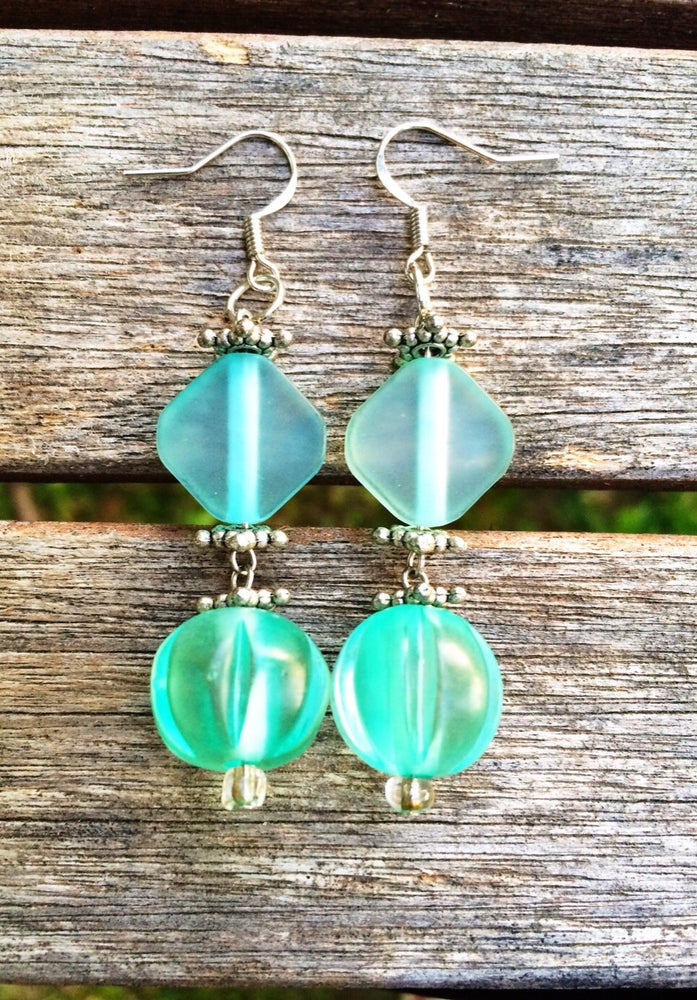 Image of Blue Frosted Glass Earrings