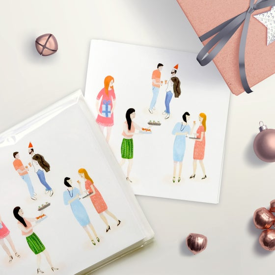 Image of Retro Christmas Party Greeting Card Set
