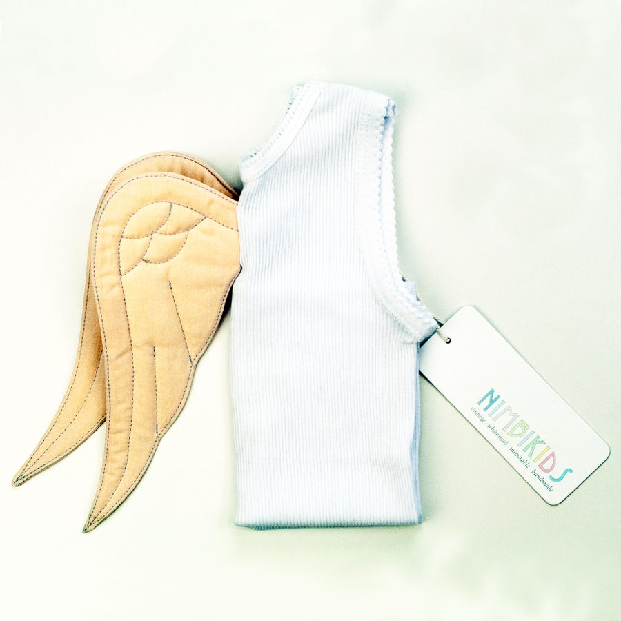 Image of Angel Wing Singlet - Cream on White