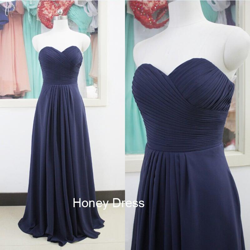 Honey Dress — Elegant Navy Blue Chiffon Strapless Ruffles ...
