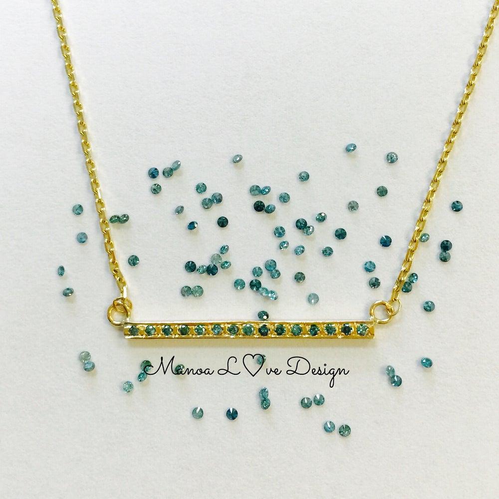 Image of blue diamond bar necklace