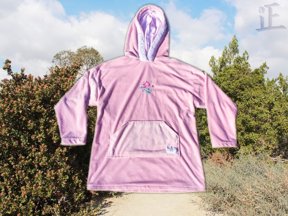 Image of Pastel Pink Fleece/Fur Rose Hoodie