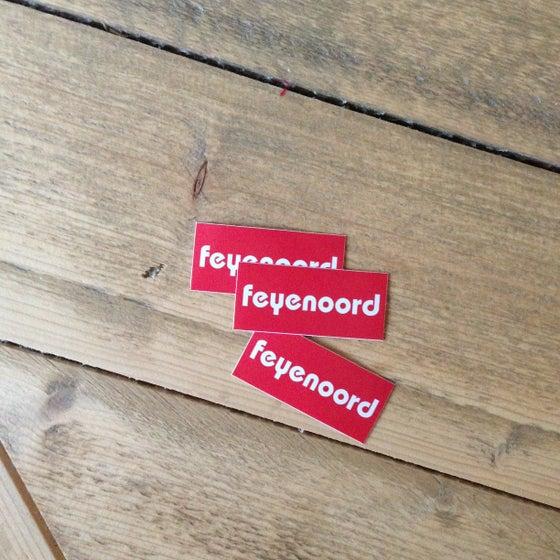 Image of 3 kleine stickers: blusserinstructie rood