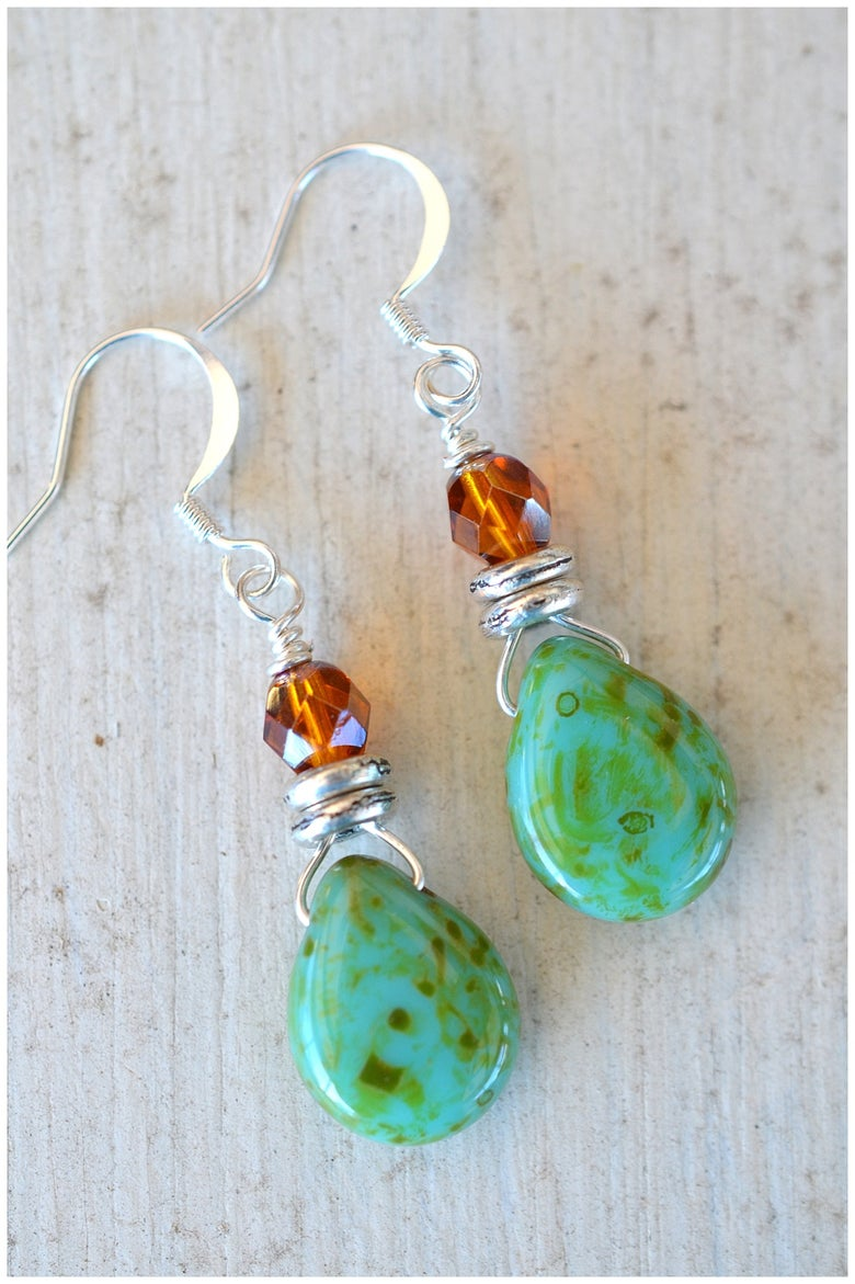 Image of Stacked Green Earrings