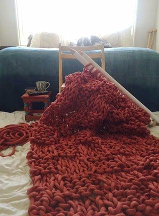 Image of Coral Basket Weave Blanket