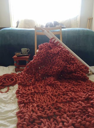 Image of Coral Basket Weave Blanket
