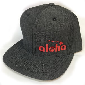 Image of Aloha Black Denim Snapback Hat