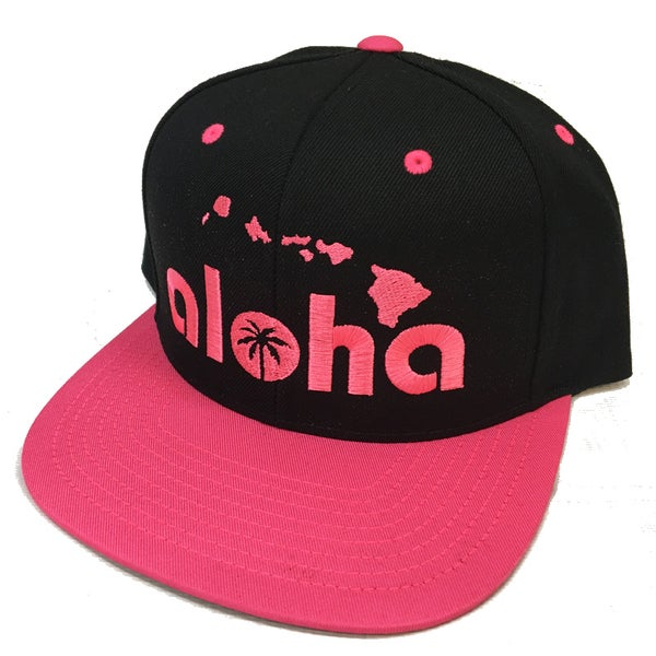 Image of Aloha Black and Pink Snapback Hat