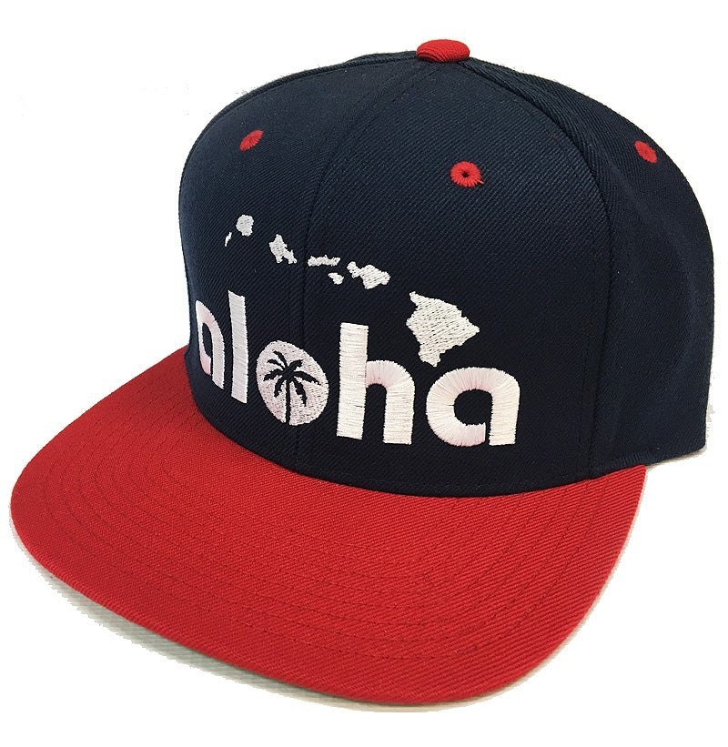 Image of Aloha Navy and Red Snapback Hat