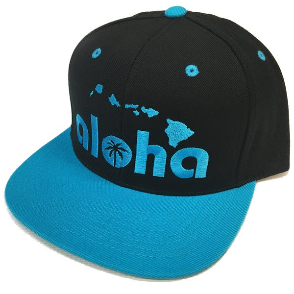 Image of Aloha Black with Turquoise Blue Snapback Hat