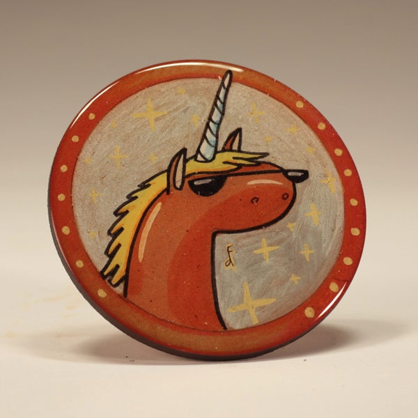 Image of Handmade 4 inch Round 'Unicorns is MAGIC' Coaster