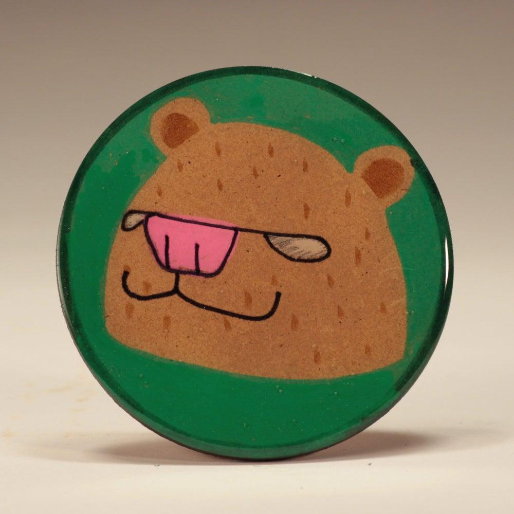 Image of Handmade 4 inch Round 'Brown Bear' Coaster
