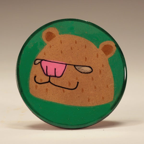 Image of Handmade 4 inch Round 'Brown Bear' Coaster