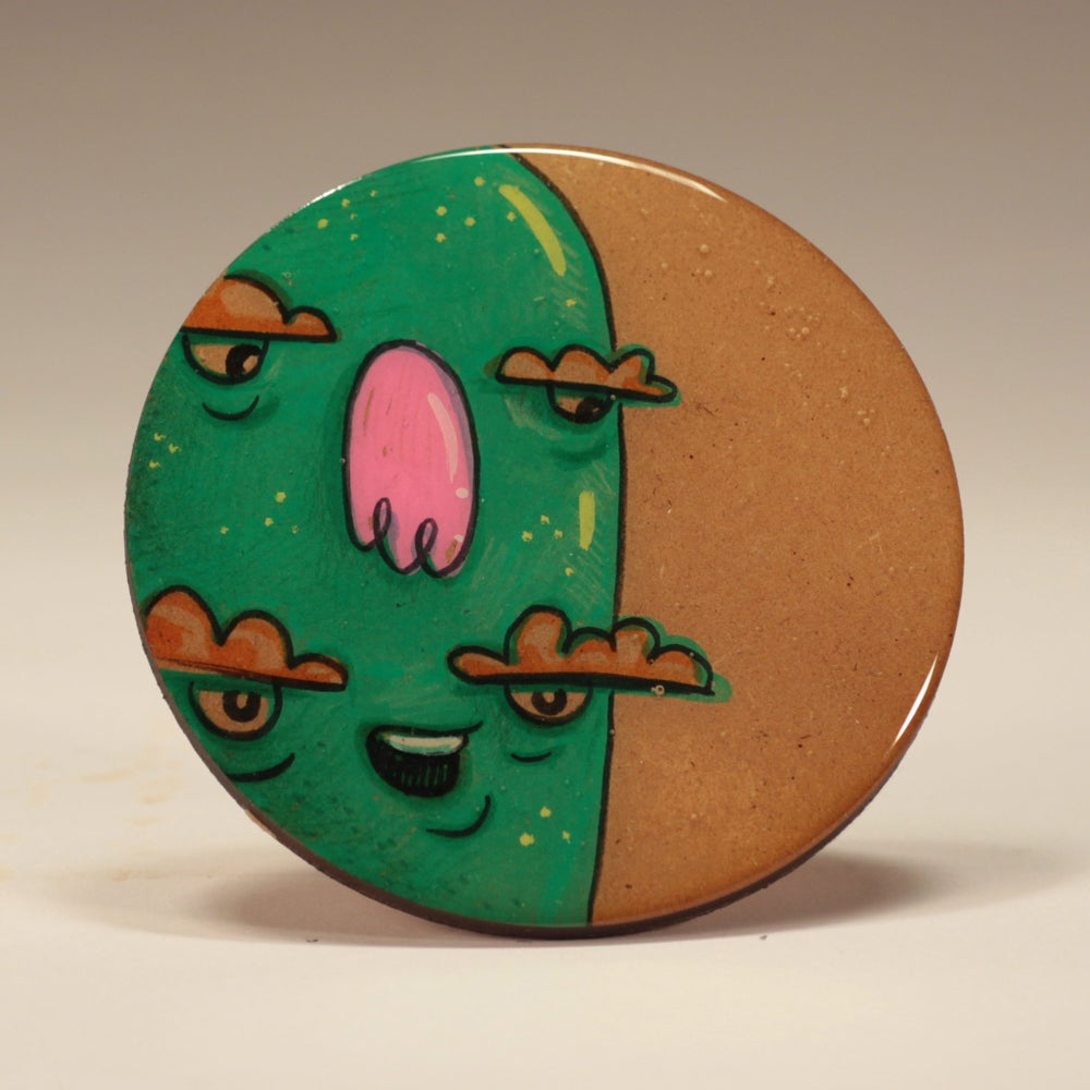 Image of Handmade 4 inch Round 'Eyes Wide Open' Coaster