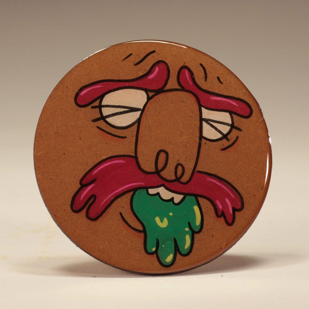 Image of Handmade 4 inch Round 'Green Puke' Coaster