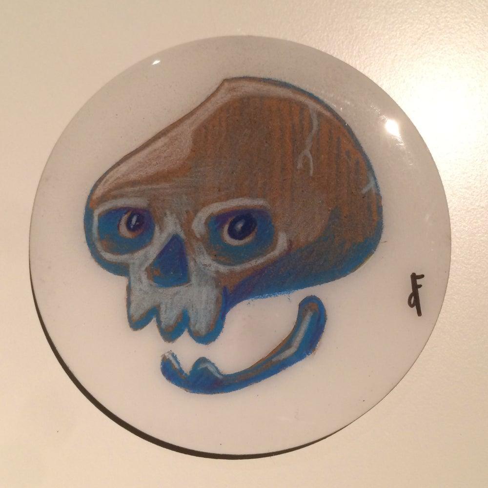Image of Handmade 4 inch Round 'Ghost Skull' Coaster