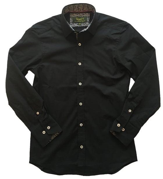 Image of Black w/Paisley Print Party Shirt