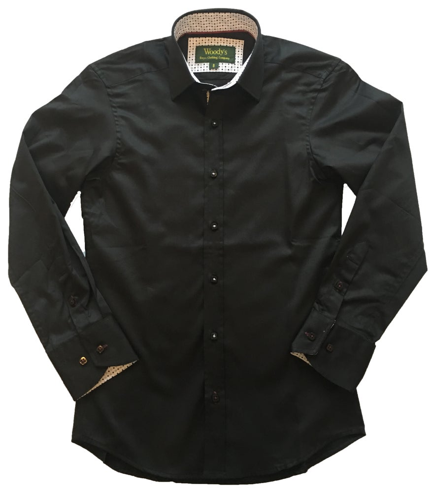 Image of Black w/Spot Trim Party Shirt