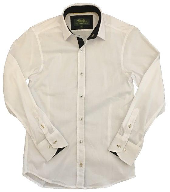 Image of White w/Black Trim Party Shirt