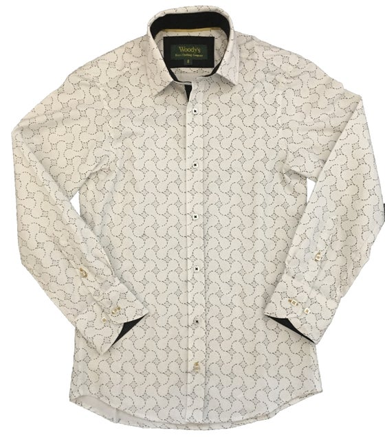 Image of White Printed Party Shirt