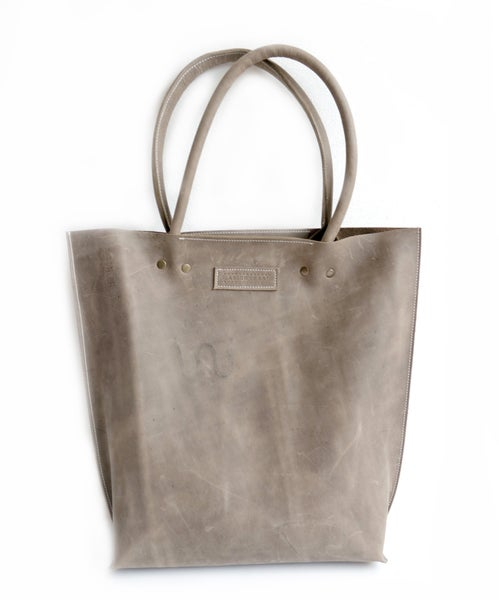Image of Slate Wax Tanned Leather Shopper Plain #KP16024