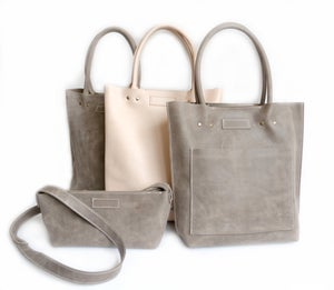 Image of Slate Wax Tanned Leather Shopper Plain #KP16024