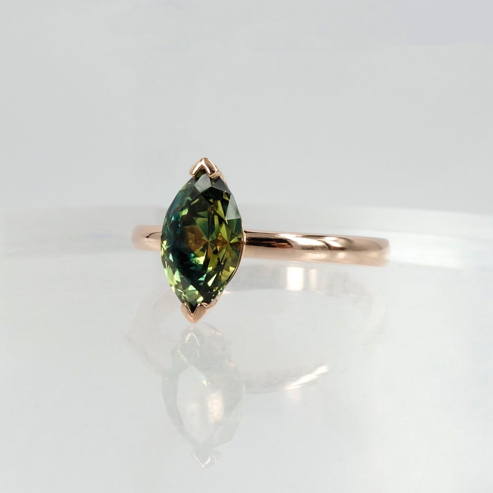 Image of 18ct Rose Gold and parti Sapphire engagement ring