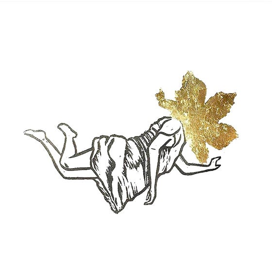 "Image of ""Float #2"" - Original Linocut Print with Gold Leaf."