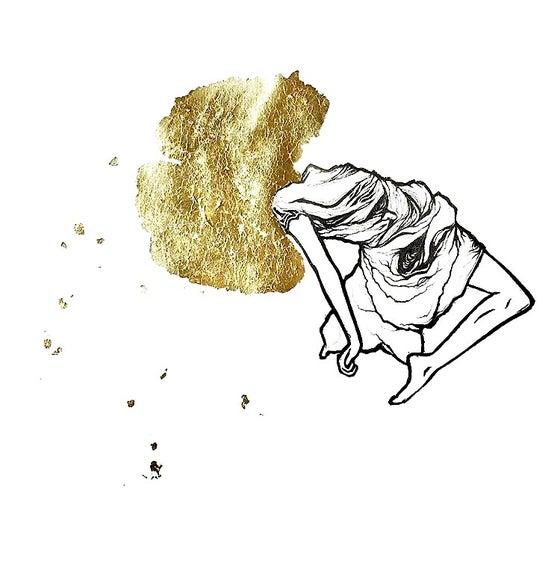 "Image of ""Ascension #2 (Gingko)"" - Original Linocut Print with Ginkgo Gold Leaf"