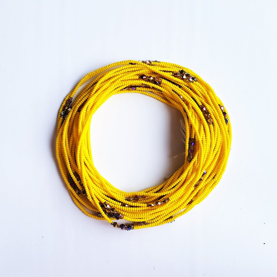 Image of Yellow & bronze African waist beads