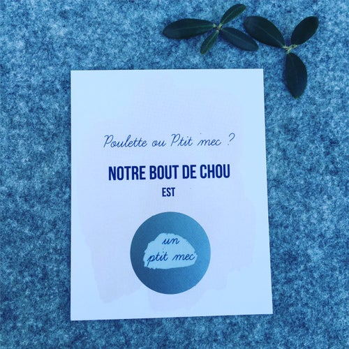 """Image of Carte à gratter """"Aquarelle"""" -Poulette ou Ptit mec ?"""