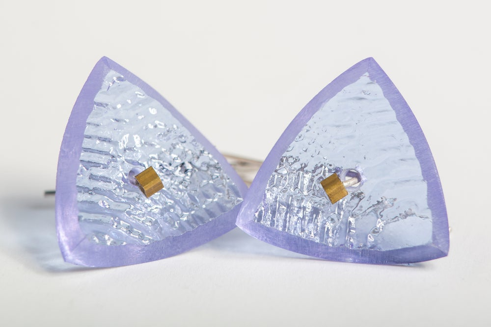 Image of COLOUR CHANGE PURPLE/GREY PAIR Geometric Cast Glass earrings Sterling Silver wire.