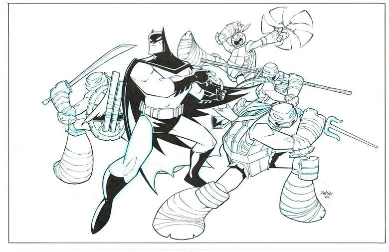 Image of ORIGINAL ART - Batman TMNT Adventures 6 Cover