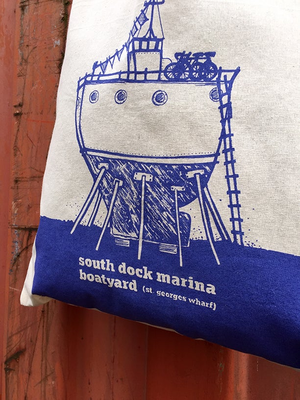 Image of Illustrated Boat Tote Bag—South Dock Marina