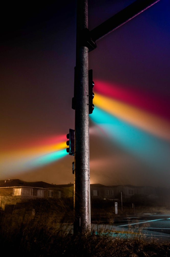 Image of traffic lights in the fog- print