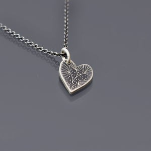 Image of Tiny Silver Snowflower Heart Necklace