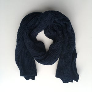 Image of Navy Blue Knit Scarf